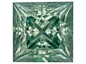 Moissanite Fire ™ Green 4.5mm Square Princess Cut Apx .50ct Diamond Equivalent Weight