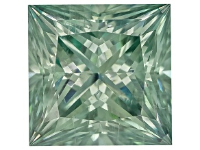 Moissanite Fire ™ Green 5mm Square Princess Cut Apx .70ct Diamond Equivalent Weight
