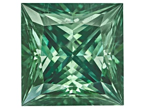 Moissanite Fire ™ Green 7mm Square Princess Cut Apx 1.80ct Diamond Equivalent Weight