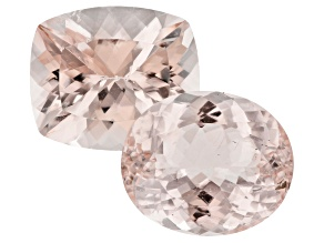 Morganite Oval and Rectangular Cushion Set of 2 19.43ctw