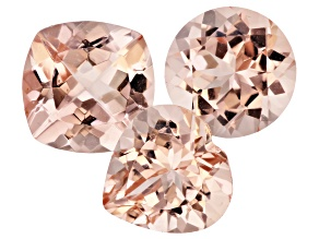 Morganite 10mm Mixed Shape Set of 3 10.03ctw
