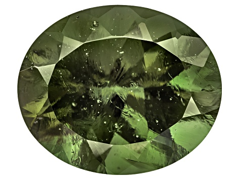 Green Moldavite 12x10mm Oval Mixed Cut 3.00ct