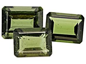 Moldavite Emerald Cut Set of 3 7.04ctw