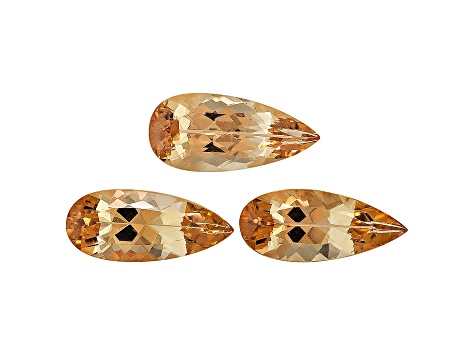 Imperial Topaz Untreated Pear Shape Set 5.21ctw