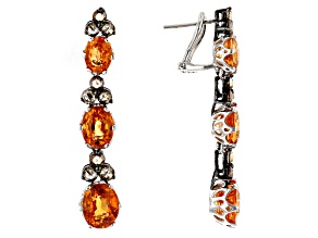 Spessartite Garnet Oval and Diamond Round 18k WG Dangle Earrings 14.69ctw
