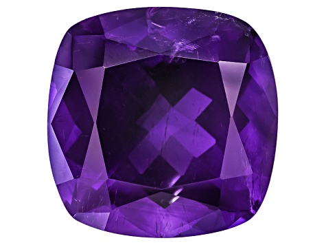 Amethyst With Needles 15mm Square Cushion 12.50ct
