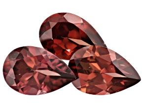 Pink Zircon Pear Shape Set of 3 5.53ctw