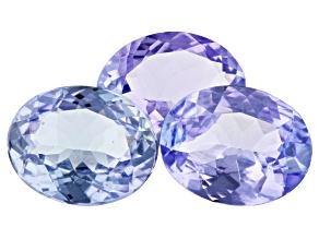 4.88ct Lavender Tanzanite 9x7mm Set Of 3 Oval