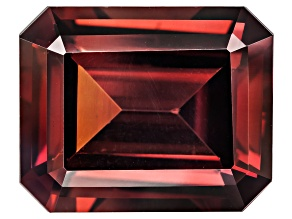 Red Zircon 12x10mm Emerald Cut 7.75ct