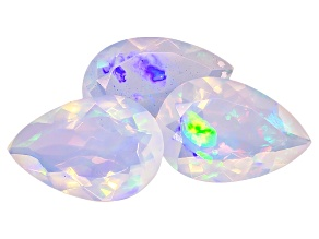 Ethiopian Opal Pear Shape Set of 3 4.75ctw