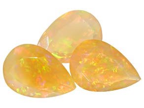 Ethiopian Opal Pear Shape Set of 3 5.36ctw