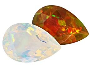 Ethiopian Opal 1.00ct min wt Set Of 2: 9x6mm Pear