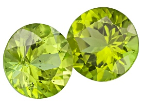 Peridot 6mm Round Set of 2 1.40ctw