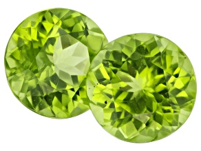 Peridot 8mm Round Matched Pair 4.38ctw