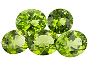 Peridot Oval and Round Set of 5 14.49ctw