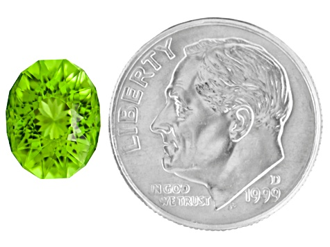 Minimum 3.00ct 10x8mm Oval Sunglitz Cut™ Chinese Peridot