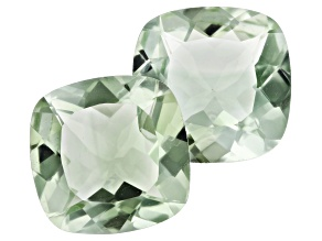 Prasiolite Matched pair 16.82ct 14mm Square Cushion