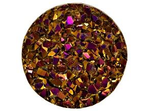 Brownish-Pink Drusy Quartz 12mm Round Tablet