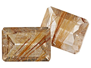 24.17ct Rutilated Quartz Varies mm Set Of 2 Varies Shape
