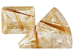 47.88ct Rutilated Quartz Varies mm Set Of 2 Varies Shape