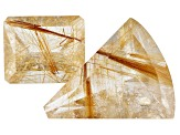 47.88ct Rutilated Quartz Varies mm Set Of 2 Varies Shape