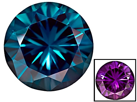 Alexandrite Color Change Lab Created 12mm Round Diamond Cut 6 50ct