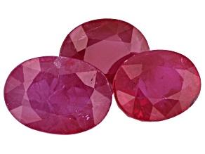 Burma Ruby 3.16ct Set Of 3: Varies mm Oval