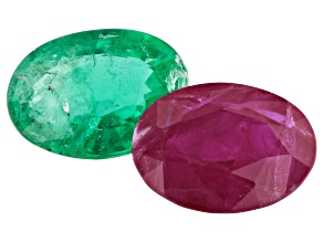 1.25ct Burma Ruby/Emerald 7x5mm Set Of 2 Oval