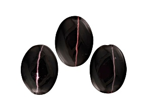 Sillimanite Cats Eye 8x6mm Oval Cabochon Set 4.25ctw
