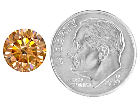 Champagne Lab Created Strontium Titanate 9mm Round Diamond Cut 3.60ct