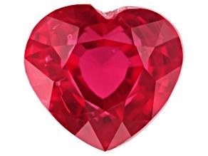 1.63ct 6.95x6.3mm Heart Shape unheated Mozambique Ruby Cut In: Sri Lanka
