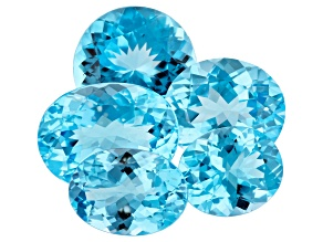 39.73ct Sky Blue Topaz Calibrated Mix Set Of 5 Oval