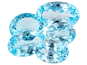 35.38ct Sky Blue Topaz Varies mm Set Of 5 Oval