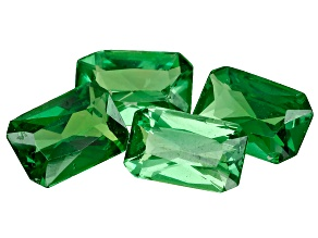 Tsavorite Garnet 6x4mm Emerald Cut Set of 4 1.92ctw