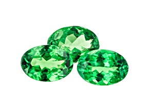 Tsavorite Garnet 6.8x4.8mm Oval Set of 3 2.18ctw