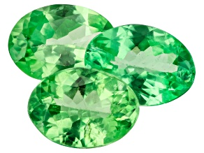Tsavorite Garnet 7.3x5.3mm Oval Set of 3 2.53ctw