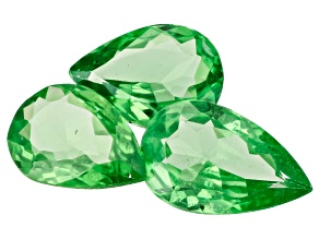 Tsavorite Garnet Pear Set of 3 1.93ctw