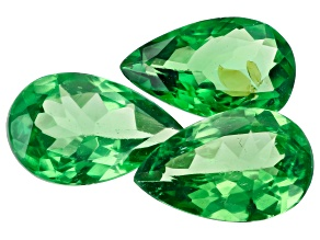 Tsavorite Garnet Pear 5x8mm Set of 3 2.38ctw