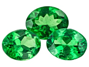 Tsavorite Garnet Oval Set of 3 1.22ctw