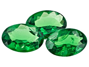Tsavorite Garnet 6.5x4.5mm Oval Set of 3 1.35ctw