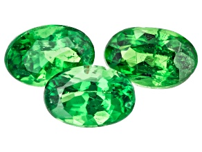Tsavorite Garnet Oval 6x4mm Set of 3 1.40ctw