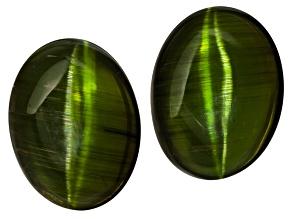 Green Cats Eye Tourmaline 17.4x13mm Oval Cabochon 26.95ctw Set/2
