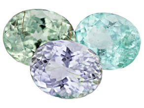 Paraiba Tourmaline Color Set 6.61ct Set Of 3: 9x7mm Oval