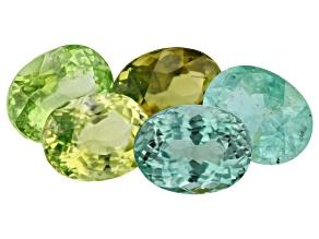 Paraiba Tourmaline Color Set 7.67ct Set Of 5: Varies mm Oval