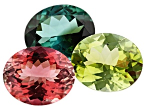 10.15ct Tourmaline 11x9mm Fancy Color Set Of 3 Oval