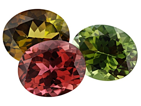 11.12ct Tourmaline 11x9mm Fancy Color Set Of 3 Oval