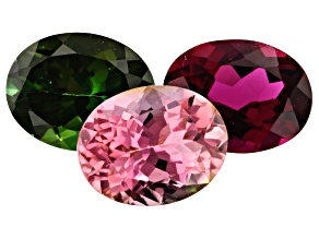 5.52ct Tourmaline 9x7mm Fancy Color Set Of 3 Oval