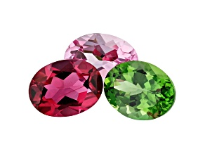 3.80ct Tourmaline 8x6mm Fancy Color Set Of 3 Oval