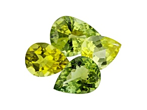 Yellow and Green Tourmaline Pear Shape Set Of 4 5.76ct