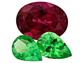 Rubellite Tourmaline and Tsavorite Garnet Set of 3 1.92ctw